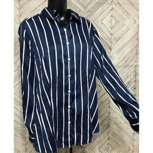 foxcroft 14w navy stripe fitted button down blouse
